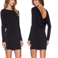 Long Sleeve Scope Back Bodycon Dress