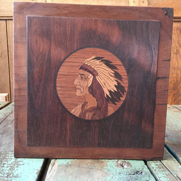 Antique Wood Inlay Marquetry, Indian Chief Marquetry, Native American Indian Souvenir, Eugene Block Marquetry, Vintage Home Decor