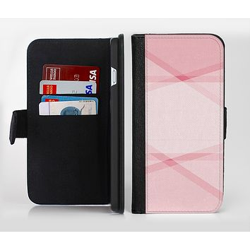 The Subtle Layered Pink Salmon Ink-Fuzed Leather Folding Wallet Credit-Card Case for the Apple iPhone 6/6s, 6/6s Plus, 5/5s and 5c