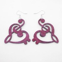 Fuschia Treble and Bass Clef Heart Wooden Earrings