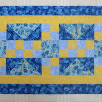 Blue Rose Unfinished Table Runner