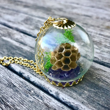Wasp Nest, Moss, Amethyst Terrarium Necklace on Gold Chain, Real Wasp Nest  Globe