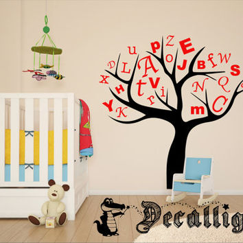 Wall Decal - Alphabet Tree - Cute Vinyl Wall Art for a Baby Nursery or Toddler's Room [013]