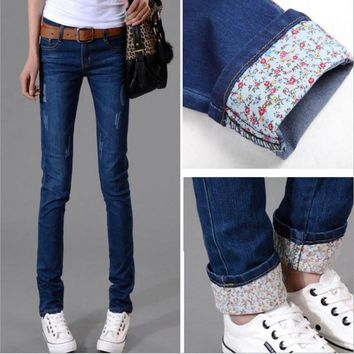 6 EXTRA LARGE Autumn New Models Two Cuffs Worn Jeans Female Casual Trousers Pencil Pants Jeans Woman High Waist Jeans