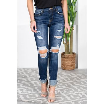 Distressed Mid Rise Skinny Umbrae Jeans