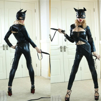 Sexy Catwoman Movie Batman Black Leather Tight Adult Costume One Size (Size: M, Color: Black) = 1928023236