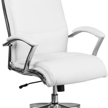 High Back Designer White Leather Executive Swivel Office Chair with Padded Arms and Chrome Base