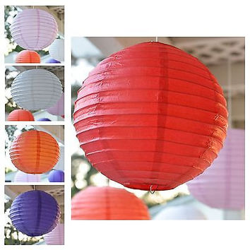 """3 Round Asian Style Chinese Round Lanterns 12"""" Hanging Multi Color"""