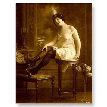 Vintage Naughty French Pin Up Girl Photograph Postcards from Zazzle.com