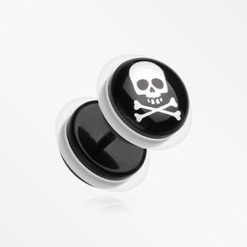 A Pair of Pirate Crossbone Acrylic Faux Gauge Plug Earring