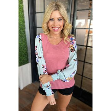 Proud To Be Me Waffle Knit Top- Mauve Pink & Light Blue