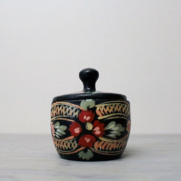 Vintage Ukrainian Folk Art Wooden Casket - Hand Painted Wooden Bowl With Lid - Khokhloma USSR Vintage Art