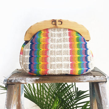 Vintage 1970's RAINBOW Striped Woven Bermuda Rafia Purse And Clutch || Wooden Handles || Removable Straps || Beach Bag || Summer Purse