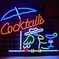 New Cocktails Cocktail Parrot Real Glass Neon Light Sign Beer Bar Pub Sign V02