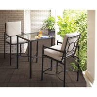 Hampton Bay Barnsley 3-Piece Patio High Dining Bistro Set with Textured Silver Pebble Cushions-FSS61119HST at The Home Depot