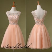 New Crystals Short Homecoming Prom Military Gown Cap Sleeves Mini Party Cocktail Dress