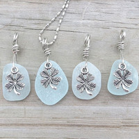 Lucky Irish Sea Glass Necklace Irish Four Leaf