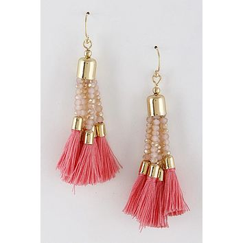 Flaunt it Pink Tassel Earrings