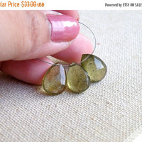 51% Off Moss Aquamarine Gemstone Briolette Green Faceted Teardrop 13mm 3 beads
