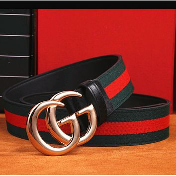 GUCCI Fashion Woman Men Fashion Smooth Buckle Belt Leather Belt Red Green G
