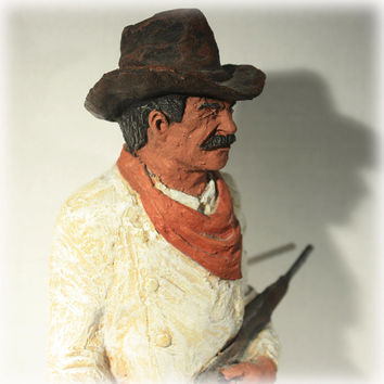 The Rifleman Cowboy By D R Monforth Western Sculpture Signed 1982