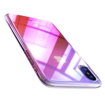 iPhone X Cases Girls, Baseus Phone Case For iPhone X 10 Gradient Color Ultra Thin Slim PC Hard Back Cover Case For iPhoneX Shell (Pink)