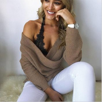 Knit Tops Oral Sex V-neck Strapless Sweater [31300911130]