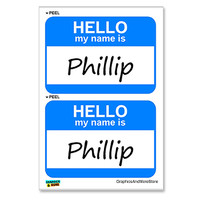 Phillip Hello My Name Is - Sheet of 2 Stickers