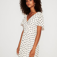Polka Dot Flutter Sleeve Fit And Flare Dress