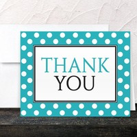 Polka Dot Turquoise Thank You Cards - Black White Turquoise Polka Dot Thank You Cards - Printed