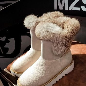 New Beige Round Toe Flat Faux Fur Patchwork Casual Ankle Boots