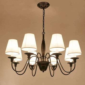 LED Chandelier LED Vintage Pendant lamp light Iron Black Fabric shade ceiling lamp for Living Room Dinning Room