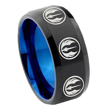 8mm Multi Jedi Star Wars Bevel Tungsten Carbide Blue Mens Promise Ring