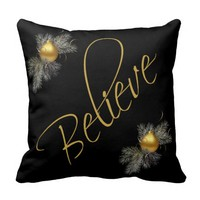 Modern Xmas, Believe (w/ ornaments) gold & black Throw Pillows