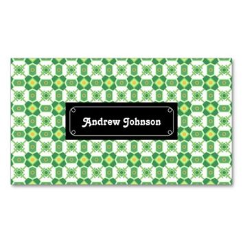 Green geometric Pattern Double-Sided Standard Business Cards (Pack Of 100)