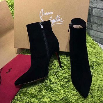 DCCK2 Sale Christian Louboutin CL Top Suede Ankle Boot Black