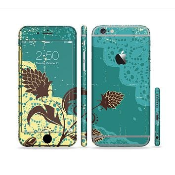 The Yellow Lace and Flower on Teal Sectioned Skin Series for the Apple iPhone 6 Plus