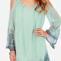 Green Tie Dye Printed Swing Dress with Long Sleeves