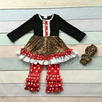 by girls Christmas party clothing children X-mas outfits baby kidswear leopard clothes red/white dot ruffle pant with headband