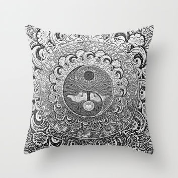Silver Yin Yang Throw Pillow by Tree Of Life Shop