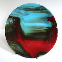 Turquoise and Red Streaky Fused Glass Deep Platter