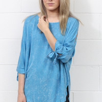 Mineral Washed Tie + Cut Out 3/4 Sleeves Tunic {Sapphire}