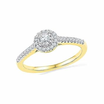 10kt Yellow Gold Women's Round Diamond Solitaire Halo Promise Bridal Ring 1-4 Cttw - FREE Shipping (US/CAN)