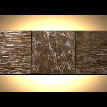 Original Modern Metallic Wall Art 12x36 Heavy Impasto Texture Abstract Triptych Painting Contemporary Home Decor Artwork. great gift