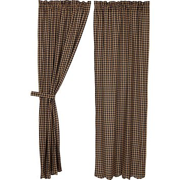 Navy Check Scalloped Panel Curtains