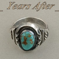 Old Pawn Vintage Native American NAVAJO Ring Turquoise Solid Sterling Silver Band c.1950s!