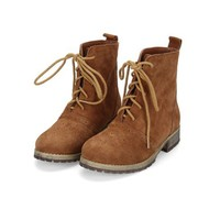 Brown Suede Lace Up Boots with Perforated Detail