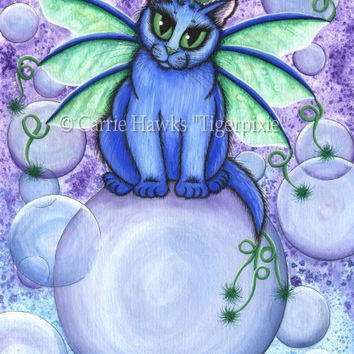 Fairy Cat Painting Bubble Fairy Cat Blue Fairy Cat Fantasy Big Eye Art Fantasy Cat Art Print 8x10 Cat Lovers Art