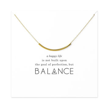 Sparkling balance curved tube necklace gold plated Pendant necklace Clavicle Chains Statement Necklace Women Jewelry