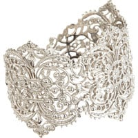 I aM Ileana Makri White Gold Large Filigree Cuff at Barneys.com